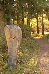 A beautiful man-size wood carving beside the path at Webbers Post